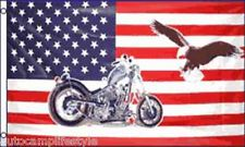 USA Motorcycle and eagle american flag 5ft x3ft