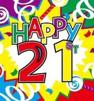 Happy 21st birthday flag 5ft x 3ft