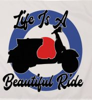 Life is a beautiful ride Vespa scooter target flag 5ft x 3ft