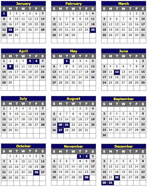 Philippine Holiday Calendar 2012