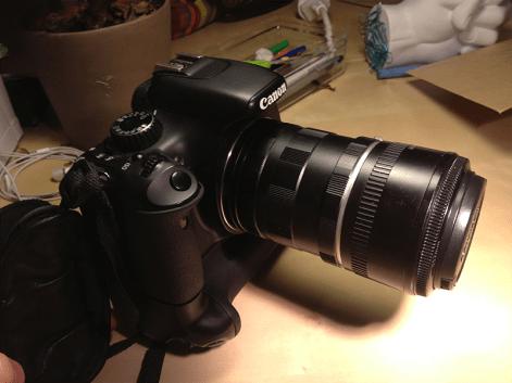 Objectif Canon 50mm avec une bague d'allonge