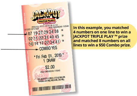 Jackpot triple Play ticket, In this example, you matched 4 numbers on one line to win a JACKPOT TRIPLE PLAY prize and matched 7 numberson all lines to win a $20 Combp prize.