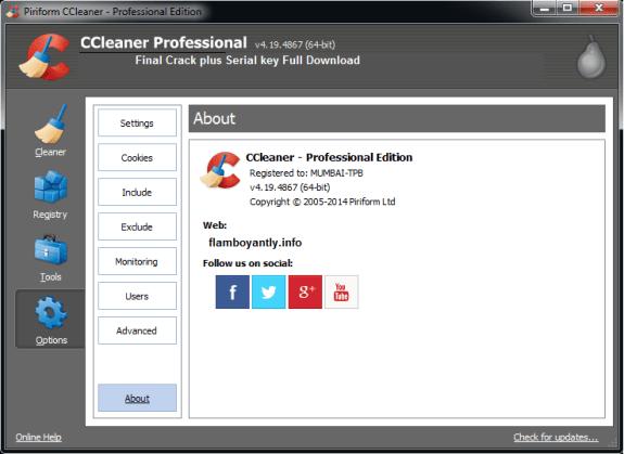 CCleaner Pro v4.19.4867 Final Crack plus Serial key Full Download