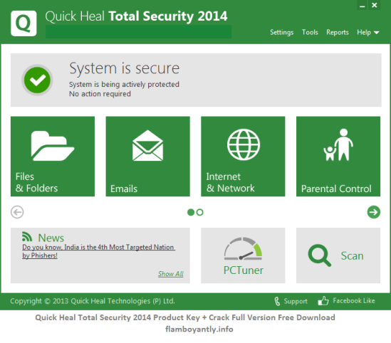 Quick Heal Total Security 2014 Product Key + Crack Full Version Free Download