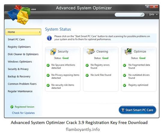 Advanced System Optimizer Crack 3.9 Registration Key Free Download