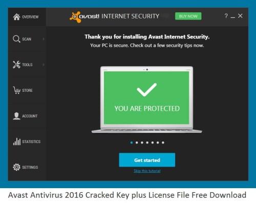Avast Antivirus 2016 Cracked Key plus License File Free Download