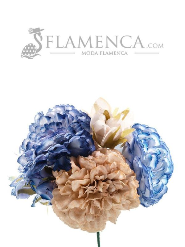 Ramillete de flamenca tonos beige y ducado