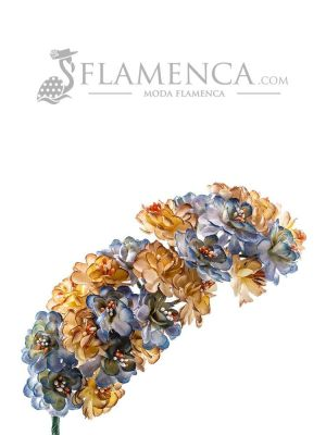 Tiara de flamenca en tonos azules antiguos y beige
