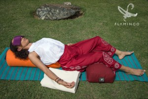 Shavasana with Flamingo Yoga Props
