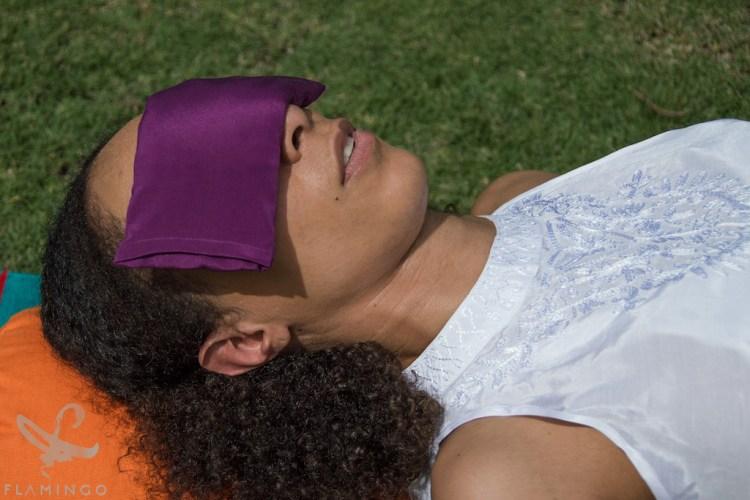 Flamingo Silk eye pillow for restorative poses