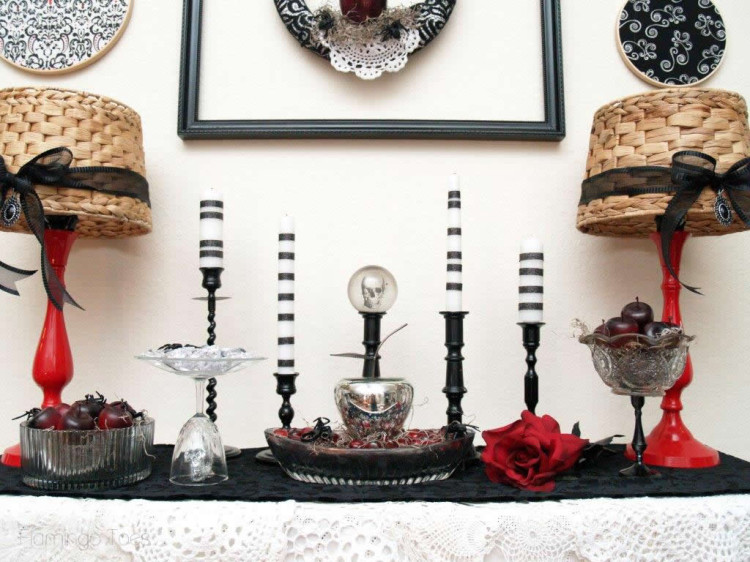 Candles and Halloween Display