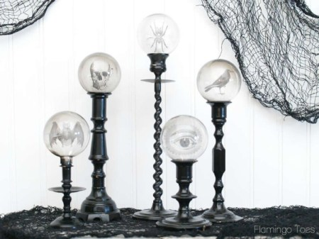 Spooky Crystal Ball Halloween Candlesticks {Flamingo Toes}