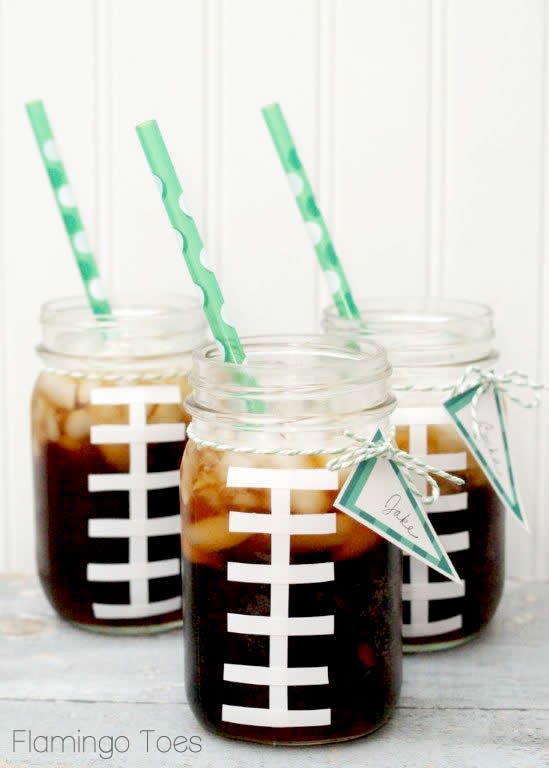 Super Bowl Commercial Bingo featured by top US craft blog, Flamingo Toes: Football Mason Jars