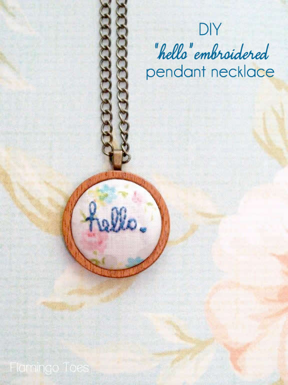 diy hello embroidered pendant necklace