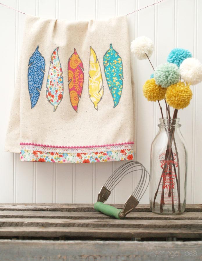 DIY Fabric Feather Dishtowel