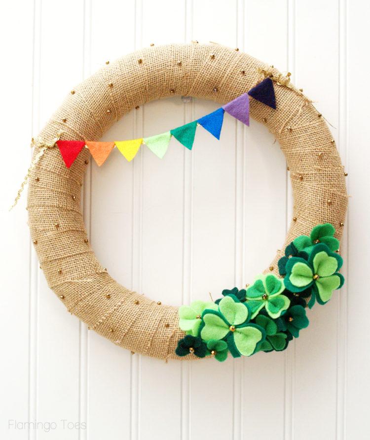 rainbow st patricks day wreath