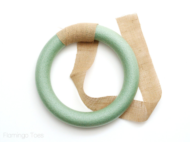 wrapping wreath with burlap