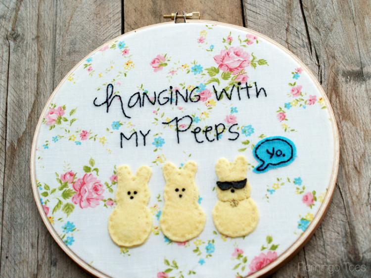 Peeps Embroidery Hoop Art