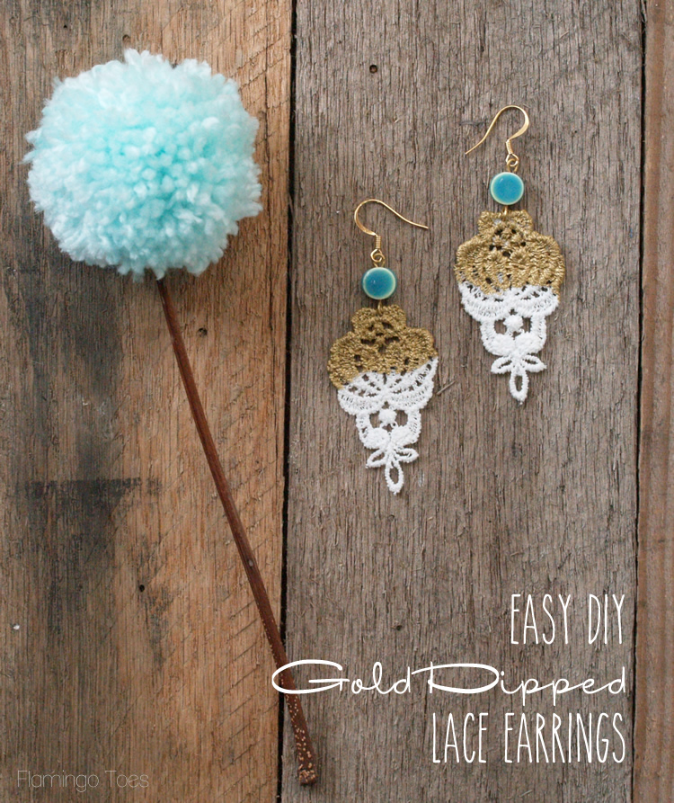 Easy DIY Gold Dipped Lace Earrings