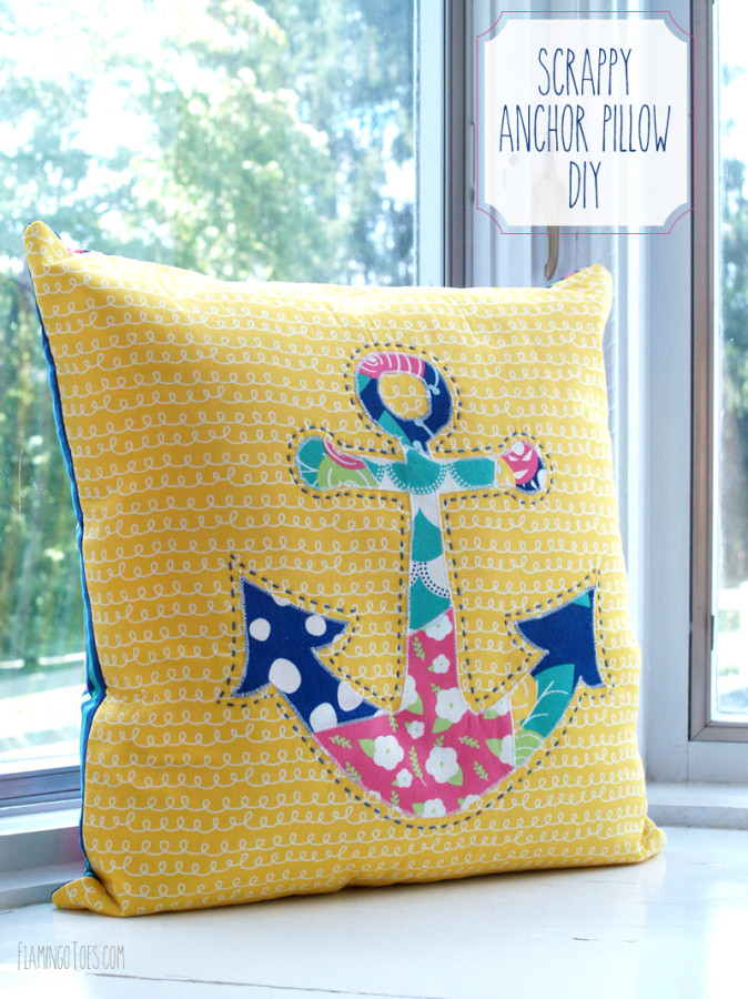 Cute and Colorful Fat Quarter Projects featured by top US sewing blog, Flamingo Toes: Scrappy Anchor Pillow DIY