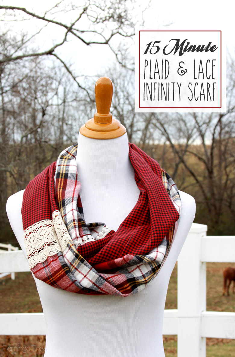 Flannel Sewing Projects featured by top US sewing blog, Flamingo Toes: 15 Minute Plaid and Lace Infinity Scarf
