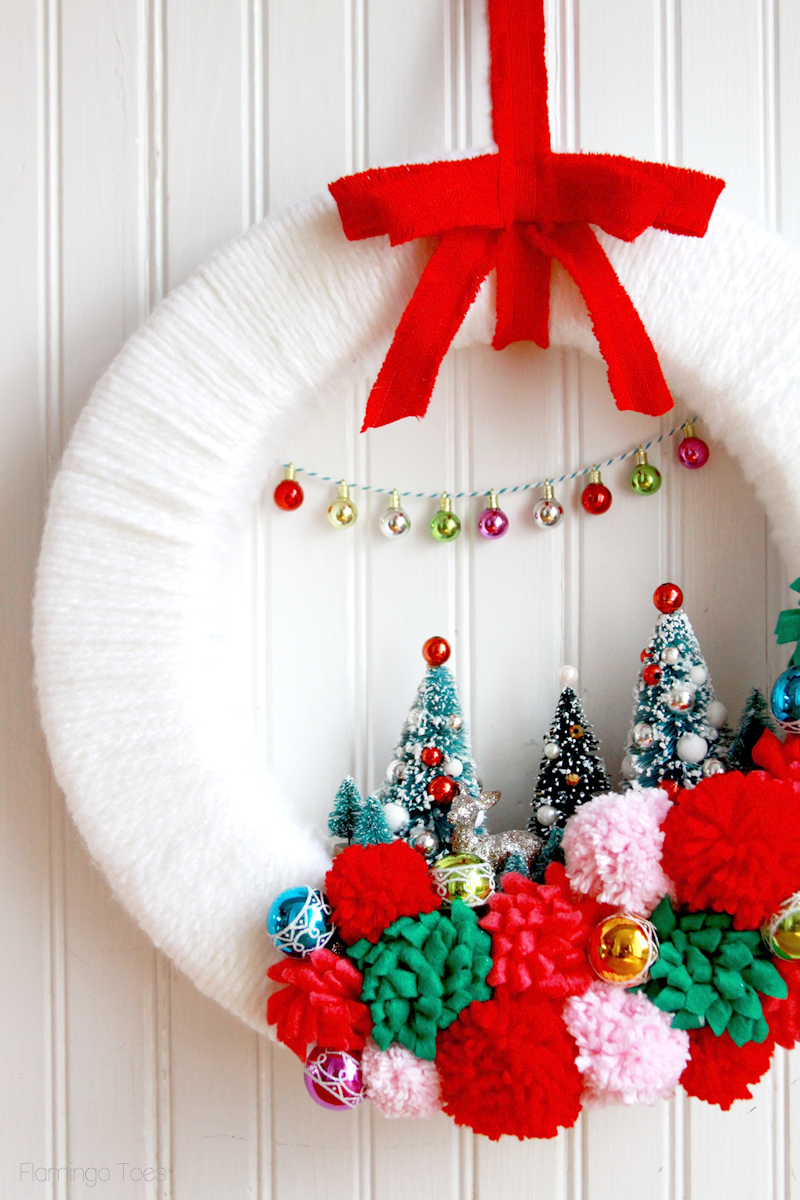 Colorful Retro Christmas Wreath