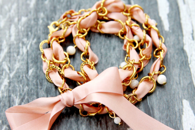 Chain and Ribbon Wrap Bracelet