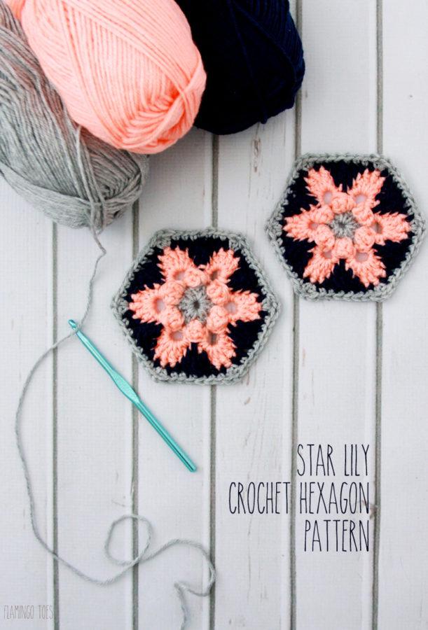 Star Lily Crochet Hexagon - Free Pattern!