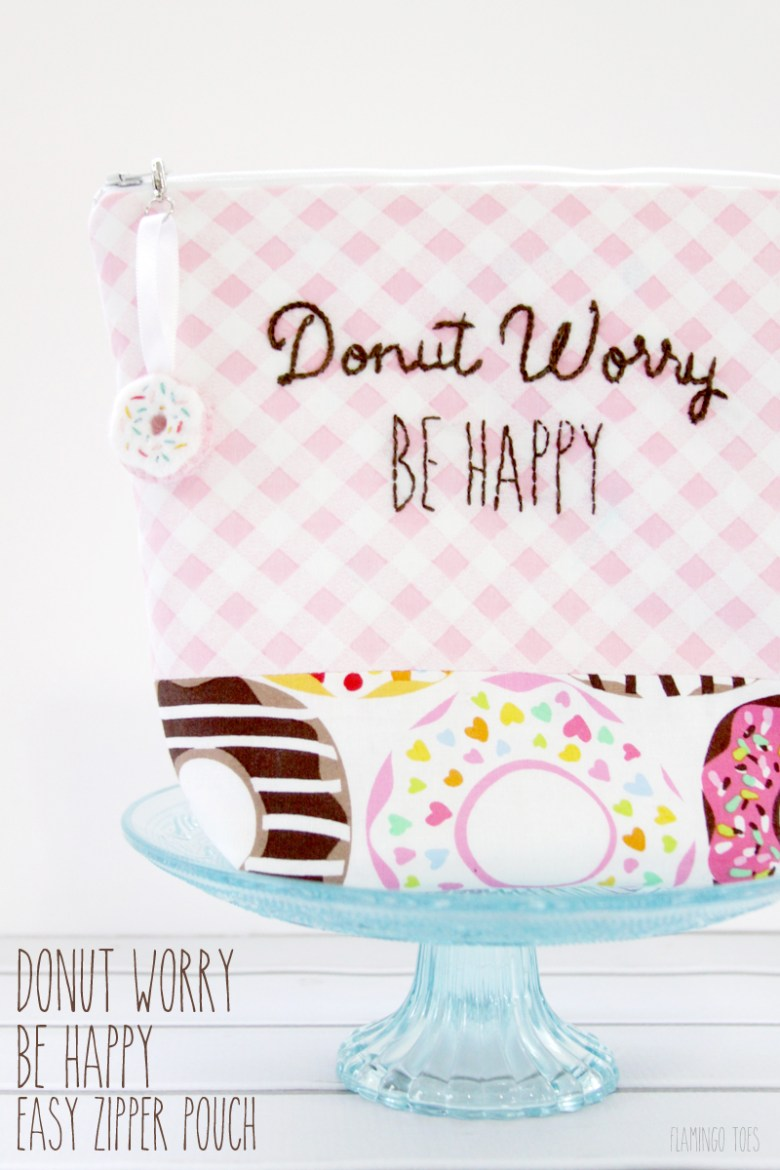 Donut Worry Be Happy Easy Zipper Pouch