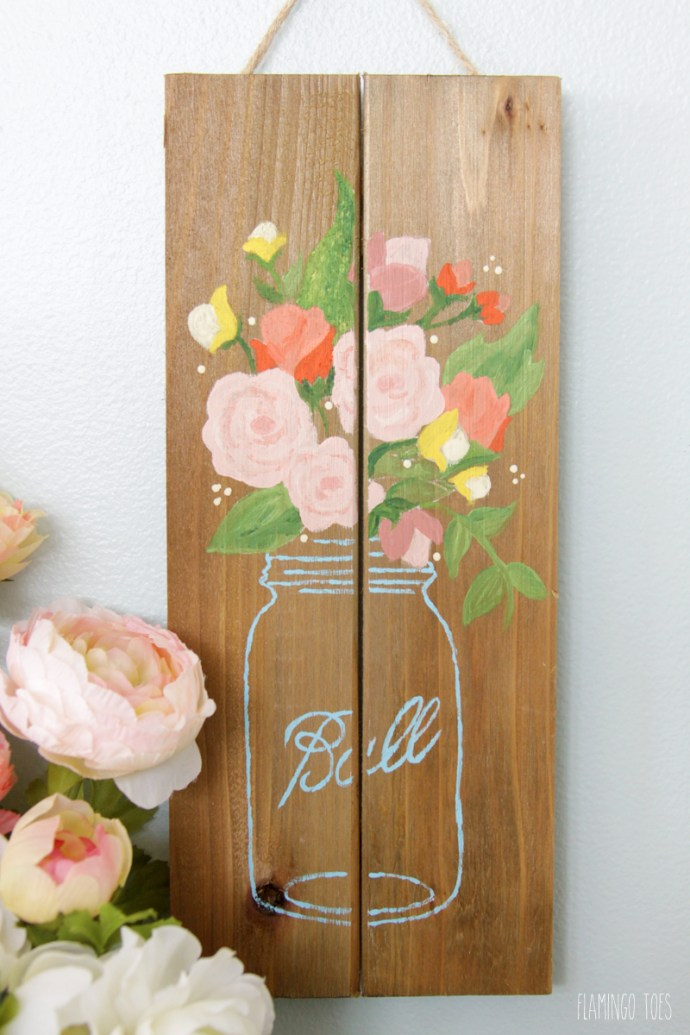 Spring Pallet Painting by Flamingo Toes