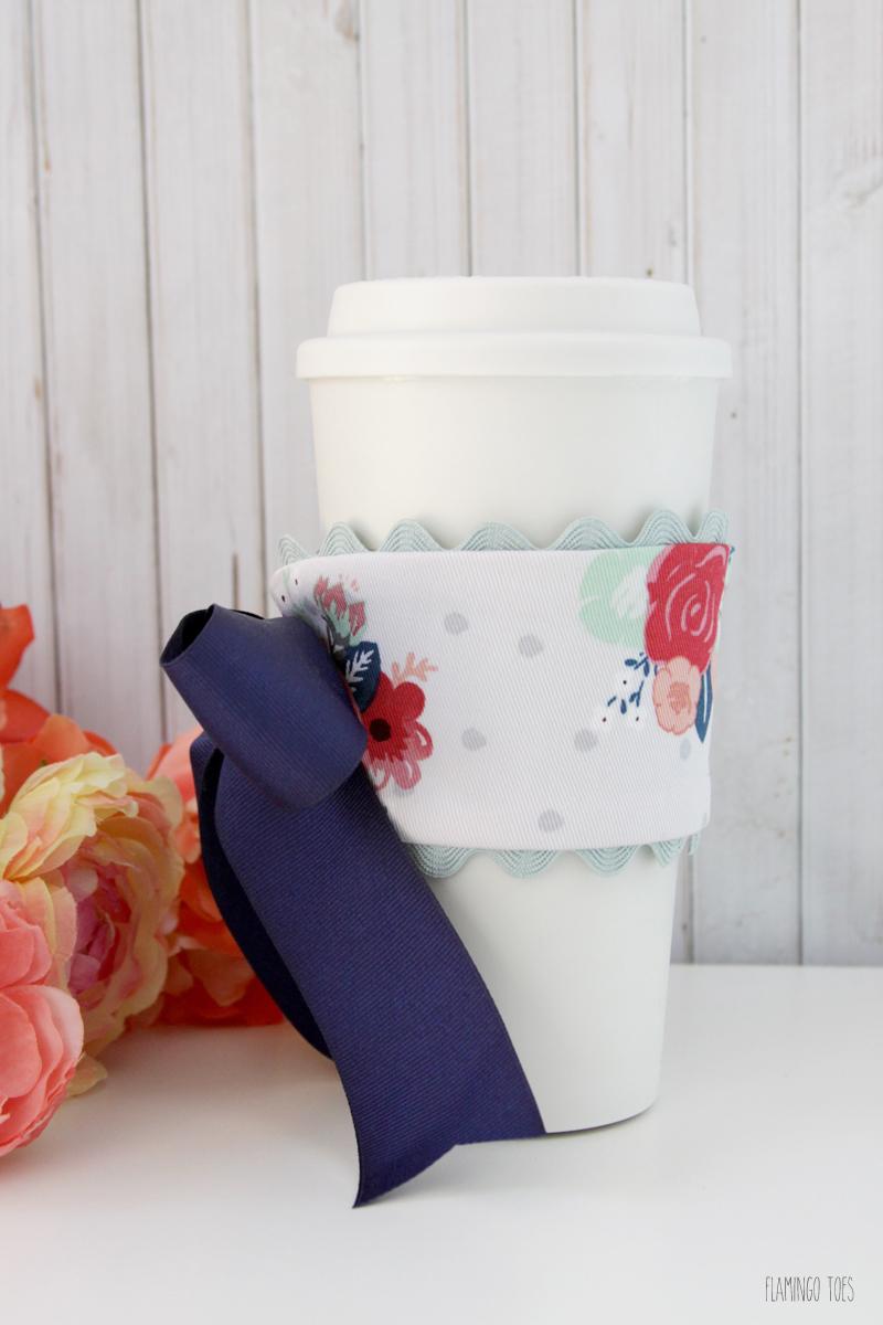 Fabric and Ribbon Floral Mug Cozy
