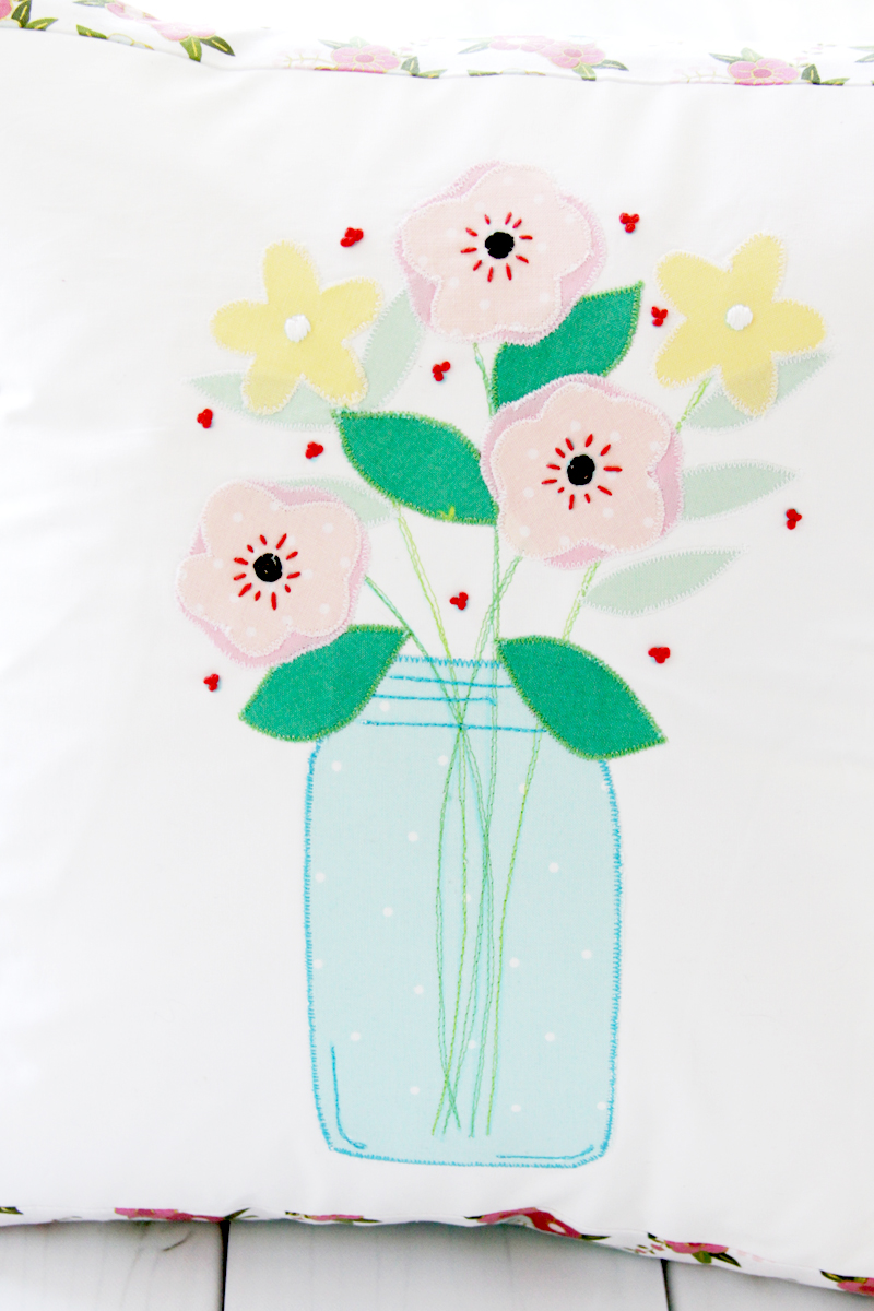 Mason Jar Flower Vase Pillow
