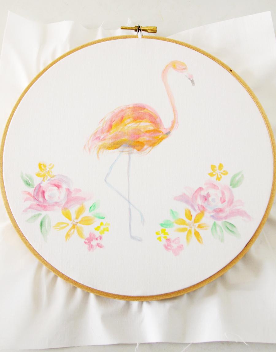 Watercolor Floral Flamingo Embroidery Hoop Art