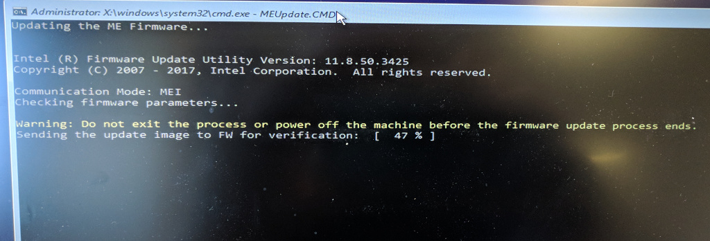 Updating Intel Management Engine firmware on a Lenovo without a