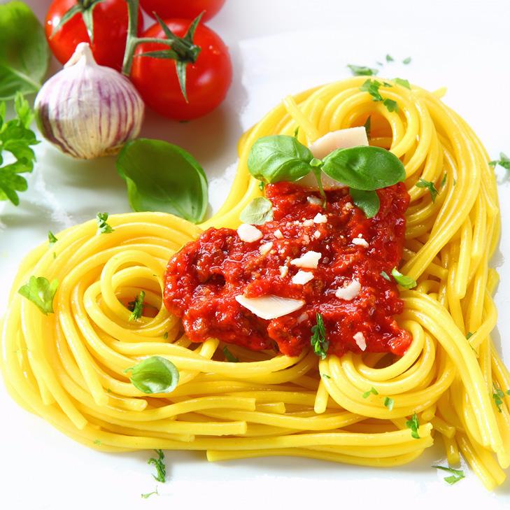 Spaghetti in a heart shape