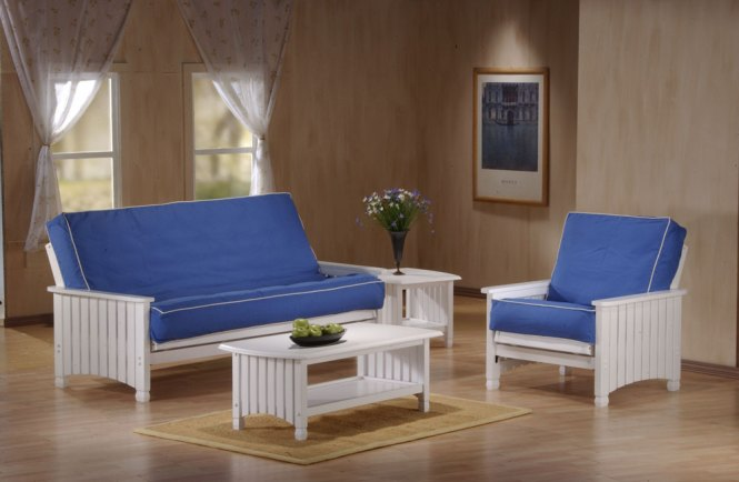 Cottage Futon Shown In White Finish Dimensions Full 81 5 W X 37 54 D 34 H Queen 87 38 58 Chair 35 3