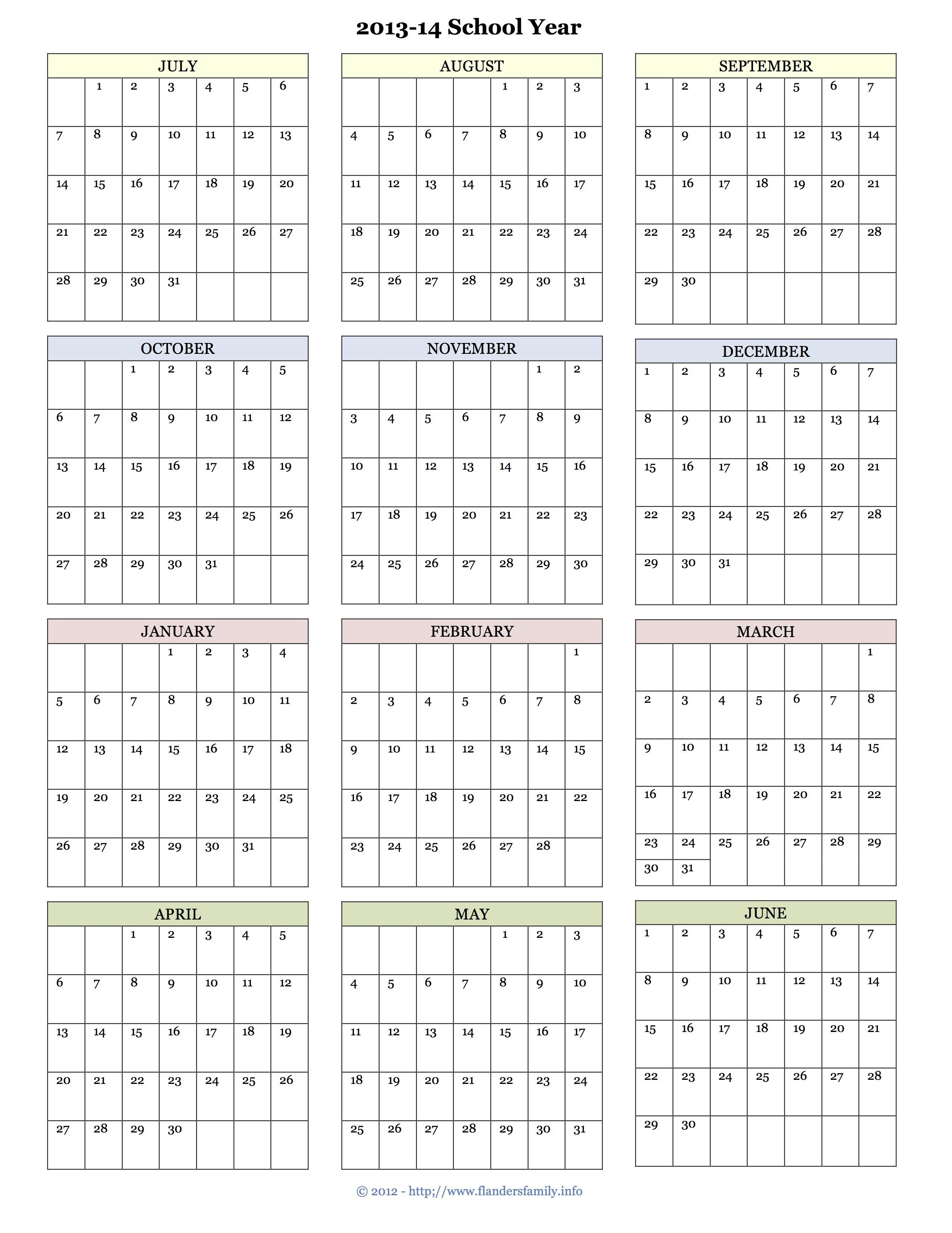2013 yearly calendars