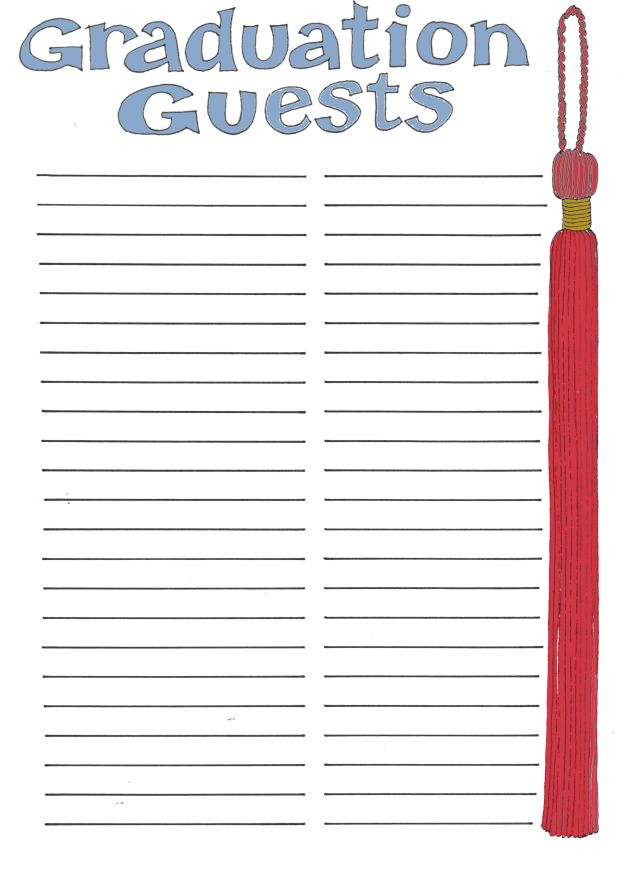 Free printable guest list sheet search results for Graduation party checklist template