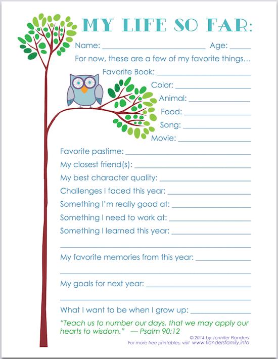 """My Life So Far"" - Free Printable Keepsake Record for Child's Scrapbook   www.flandersfamily.info"
