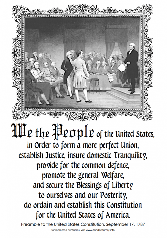 Preamble to the Constitution of the United States of America  | a free printable from www.flandersfamily.info