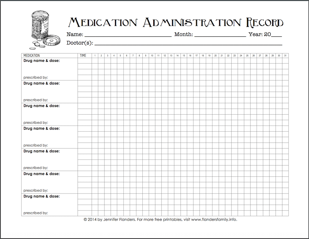 Free Chart For Keeping Track Of Medications