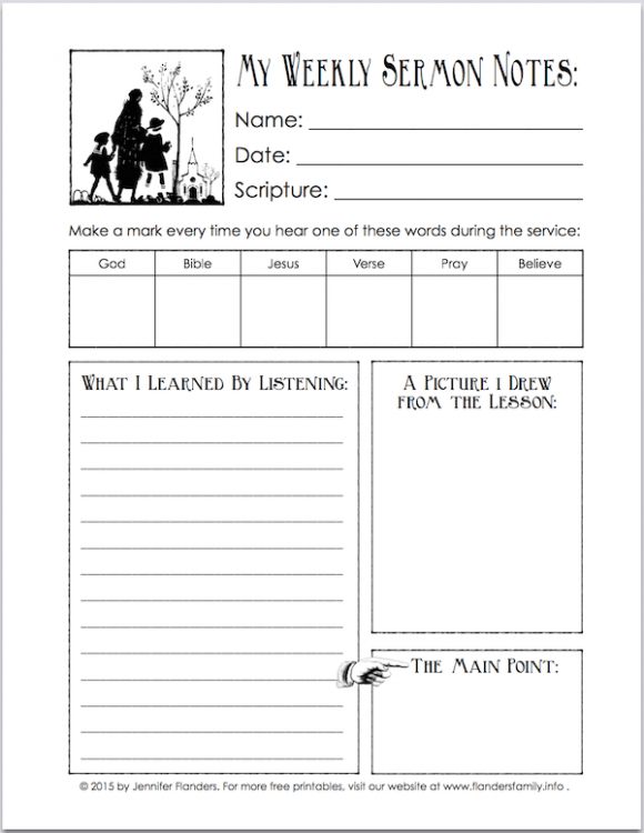 sermon notes printable for children flanders family homelife. Black Bedroom Furniture Sets. Home Design Ideas
