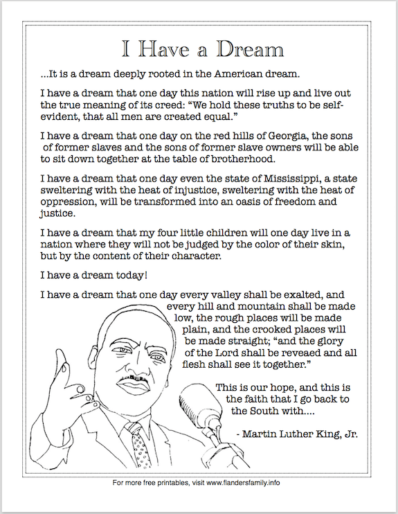 "Free printable: Martin Luther King, Jr.'s ""I Have a Dream"" Speech (excerpt)"