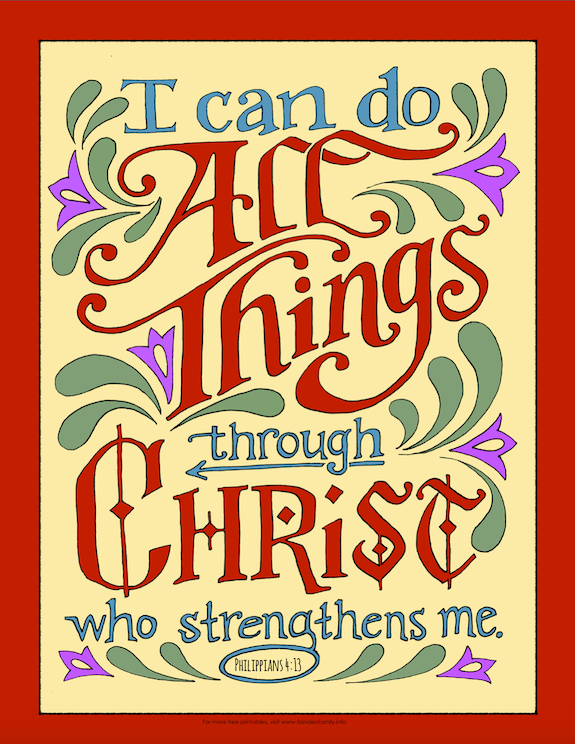 """I can do all things through Christ who strengthens me."" Philippians 4:13 {free printable coloring pages from www.flandersfamily.info}"