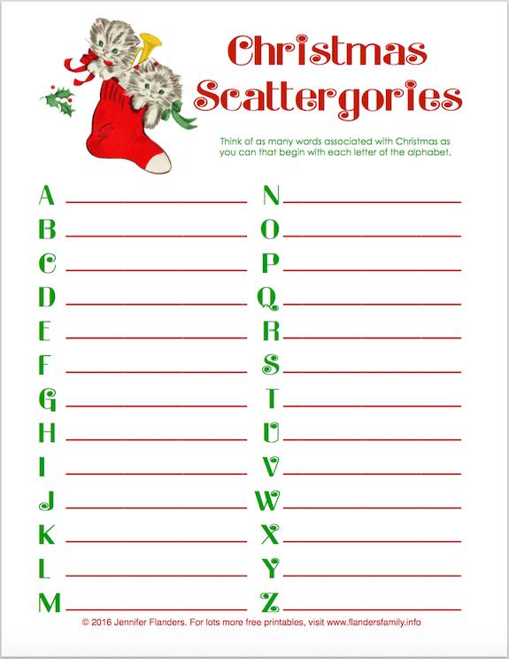 Blank Calendar Hobby Lobby : Free quot christmas scattergories printable flanders family