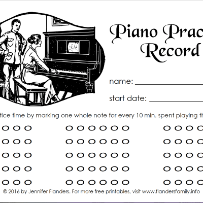 Free Printable Piano Practice Record