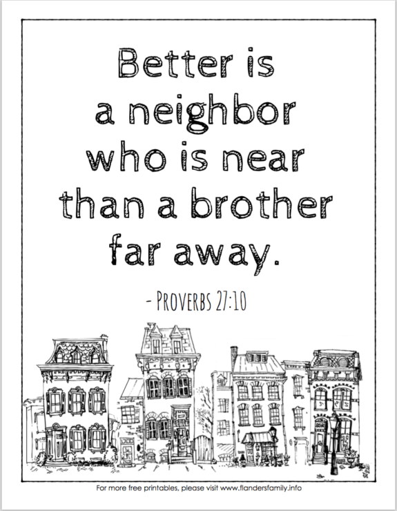 Free Scripture-based coloring pages from www.flandersfamily.info -- in English or Spanish!