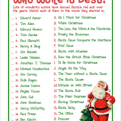 Who Wore It Best? (Free Printable Christmas Game)