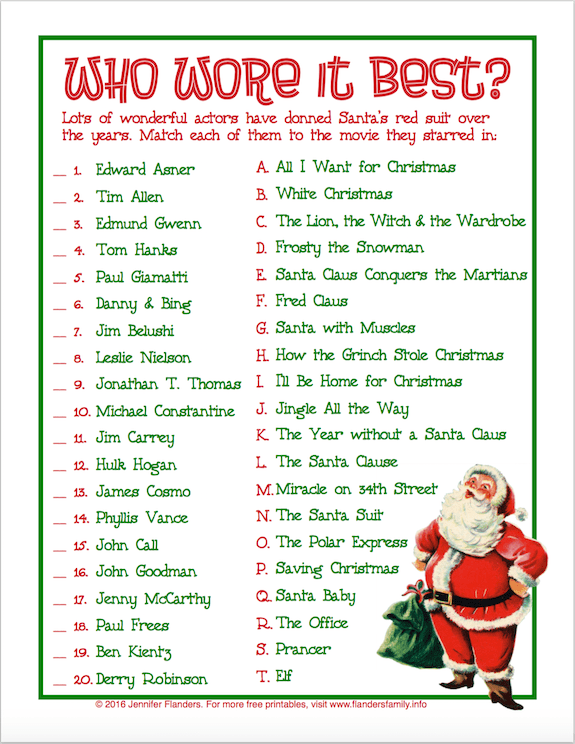 Who Wore It Best Free Printable Christmas Game