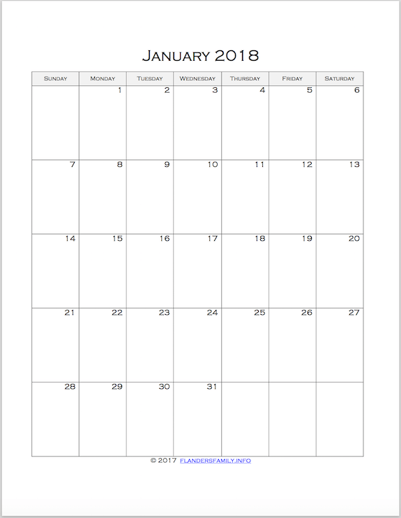 Free printable 2018 month-by-month calendar pages